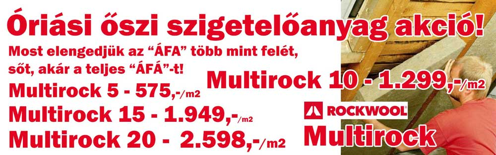 Rockwool Multirock kőzetgyapot árak